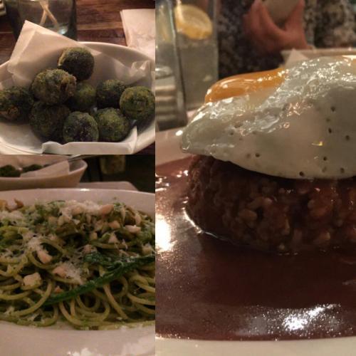 ~DAY 3 夜ごはん グーフィーカフェ&ダイン~<br /><br />初日に続き2度目の来訪。<br />ディナーは前菜もいろいろあって楽しい、があんまり頼むとやばい。<br /><br />頼んだもの<br />・オリーブとブルーチーズのフライ<br />オリーブの中にチーズが入ってて面白い。オリーブがでかい!<br /><br />・ジェノベーゼパスタ<br />おいしい!えびがごろごろと入っている。量は多い<br /><br />・ロコモコ<br />こちらもおいしい、ご飯の量は茶碗2.5杯<br /><br />パスタだけ完食し残りはお持ち帰り。しかしロコモコは半熟卵だったので結局ホテルに戻ってから食べてしまった。