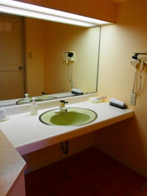 洗面台も古いですが掃除も行き届いていて清潔です。<br />鏡に映っている扉がバスルームの扉です。<br />狭いですが独立したお風呂になっています。<br />大浴場と貸切風呂を利用したので、お部屋のお風呂は使いませんでした。