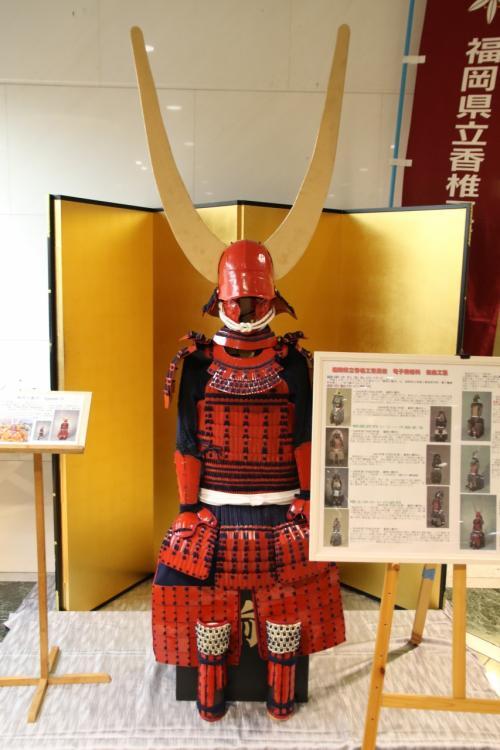 ロビーにあった高校生が制作した赤備えの甲冑