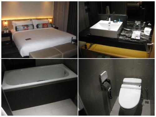 アロフト台北中山にチェックインしました。<br />写真は部屋の中。お風呂はシャワーブースは無いけど洗い場があり、<br />日本の家のお風呂とほぼ一緒です。トイレも独立してます。<br />枕の顔が怖い。近くで見ると顔とはわからない。