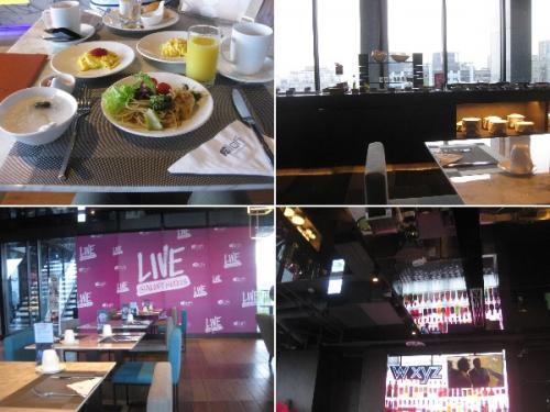 朝です。<br />ホテル最上階のレストランで朝食を食べました。<br />行った時間は他のお客さんはいませんでした。<br />たまご料理は最初にオーダーして作ってもらえます。<br />料金は1人500TWDです。2日目は行かなかった。