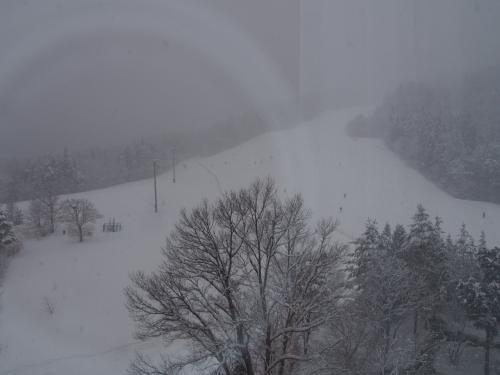 窓からはゲレンデがよくみえています。この日は雪が降っていて少し霞んでますね。<br /><br />このホテルを選んだ理由は、温泉がある事と、夕食がビュッフェで飲み放題なんです。<br /><br />まずは、ホテル1階にある温泉へ。雪見の露天風呂は体が温まって最高でした。
