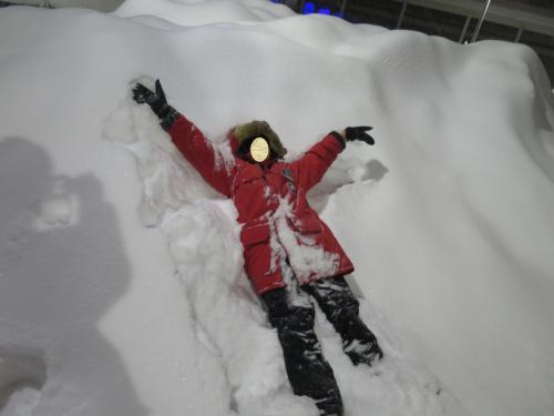 パイオニアパークで雪にダイブ