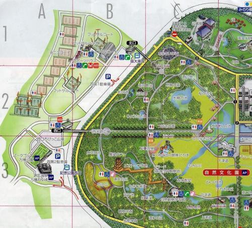 「万博記念公園・園内マップ」。(拡大図)<br /><br />「花の丘」の「ポピー畑」は、「B-3」のエリア内にあります。<br />