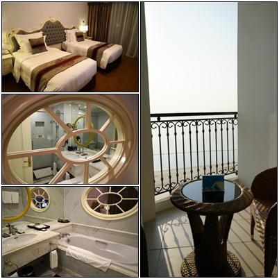 ホテルは、2015年に開館したばかりで奇麗ですね。部屋は、約40㎡の広さ、部屋からバスルームが覗けますが、流石にブラインドが付いていました。<br />バルコニーからは、ハロン湾を一望することが出来る全室オーシャンビューの絶景です。
