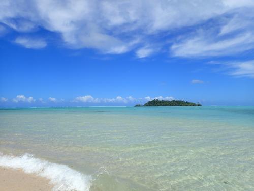 2つ目の島に上陸<1><br /><br />ここの島ではガイドと共に林の中へ入っていて色々な話があるのですが我が家はスルーでビーチ遊び♪写真には無いですが小魚が数百匹この浅瀬のこの砂浜の所にいて歩いて行くと突然飛び跳ねてある意味驚き・感動します(笑)