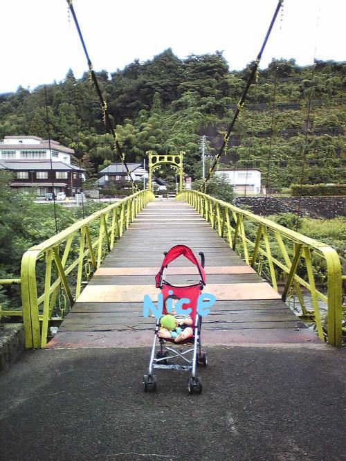 4日目の朝。明け方帰ってきた皆はまだ寝ているので息子と散歩。<br />井田川にかかる吊り橋は昔からの思い出の場所。<br /><br />『揺れる吊り橋 手に手をとりて 渡る井田川 春の風』<br /><br />おわら四季、春の歌にも歌われる吊り橋ですが<br />現在は通行が禁止されています。<br />復旧を願っています。