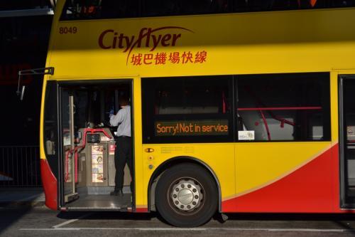 """""""Sorry! Not in Service""""<br /><br />日本にも「すみません回送中です」の表示をするバスがありますが、どこに行っても発想は変わらないようです。"""
