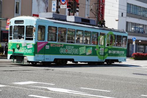 富山に着いてまず気が付いたことは、市内電車が街を走っていることであった。この電車は8000形で、7000形と同様にかなり古い電車である。