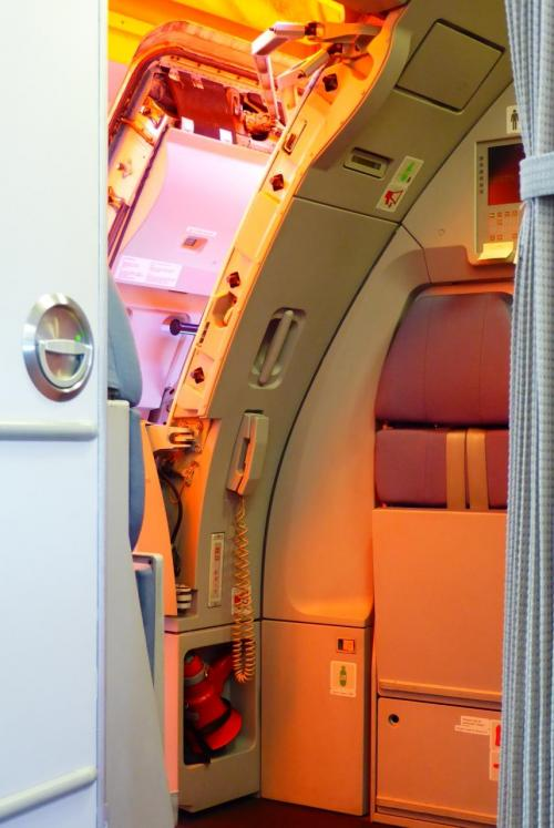 機体の最前列に座ってみた。<br />コクピットやドアの構造が遠目に見られて面白い。