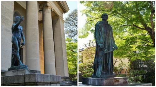 門からすぐの屋外はOK~。<br />ロダンの彫刻「洗礼者ヨハネ」と<br />カレーの市民から、城門のカギを持つ<br />ジャン・デールさん。<br />彼には上野の国立西洋美術館、<br />カレーの市民(群像)でお会いしてますね。