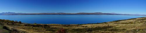 マウントクックとテカポ湖の分岐点、ブカキ湖畔にて湖を望んでいます。
