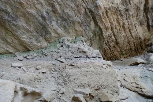 岩にはところどころ色のついた場所があり、それによって年代がわかるそうです。