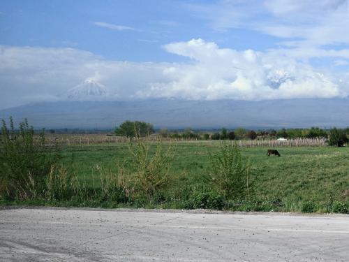 向かって左、三角形の小アララト山は、比較的くっきり見えます。<br /><br />あまり高そうに見えませんが、標高3896m。<br /><br />雲の中の大アララト山は5137m。<br /><br />どちらも今はトルコ領内です。