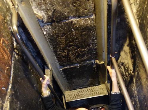 ほとんど垂直、というかやや後ろに反っているとも思えるはしご。<br /><br />握力、脚力がないと、昇り降りは厳しいです。