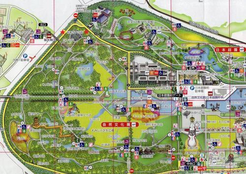 「万博記念公園・園内マップ」。※西側の部分をズームで掲載しています。<br /><br />万博記念公園は「自然文化園」と「日本庭園」より構成されています。<br /><br />「あじさいの森」は「自然文化園」の北西エリアにあります。(場所は赤い★印を付けています。)<br />