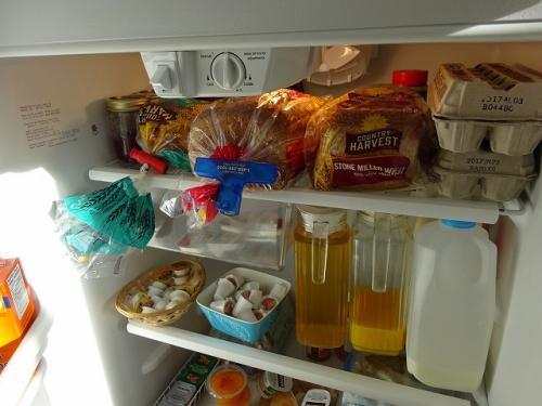 宿の朝食は冷蔵庫から好きなものを食べてもいいというスタイルでしたね。