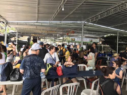 船着き場はご覧の通り。<br />100%中国人です。次々とひっきりなしにバスが到着して、バナナボート、水上スクーター、遊覧船、水中ウォーク等に次々に出発して行きます。<br />多分中国人専用船着き場でしょう。中国人だけで十分儲かると思われます。<br />私達は11:30までフリー、各自バナナボートや水中ウォーク、ジェットスクーター等をどうぞと。女性3人組が水中ウォークに行ったのですが、戻って来ない。<br />戻って来たのはなんと12:30。ツアー一行は11:30からグラスボートで島巡りの予定でしたが、翌日に延期。時間がないので食事に向かうことに。