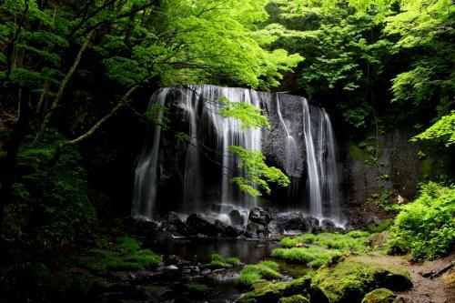 ☆達沢不動滝<br /><br />滝のすぐそばまで木製のスロープがあるので、ご年配の方や幼児でも滝つぼ近くまで降りられます。<br /><br />安達太良山系船明神山(1667m)に水源をもつ不動川(達沢川)から流れ落ちる滝は高さ10メートル、 幅15メートル。<br />水量はさほど多くはありませんが鬱蒼とした森の中、黒い一枚岩から簾のように流れ落ちる清らかな滝は絵も言われぬ美しさです。