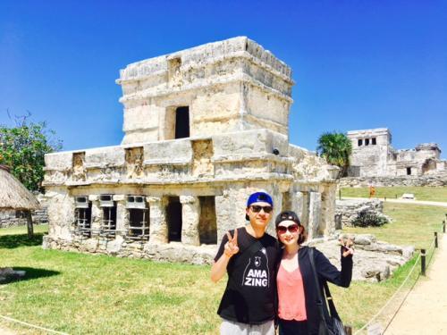 トゥルム遺跡のフレスコ画の神殿<br /><br />綺麗なフレスコ画が残された神殿です。この遺跡一つでマヤの宗教観、交易網の広がり、文明の衰退度、そして、トゥルム遺跡がいつまで存在したのかということまで分かる、、、非常に重要な遺跡です。<br /><br />ここでの説明がガイド力を問われます(^^)<br />