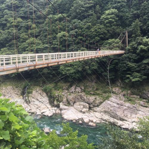 なかなかに怖そうな吊り橋。