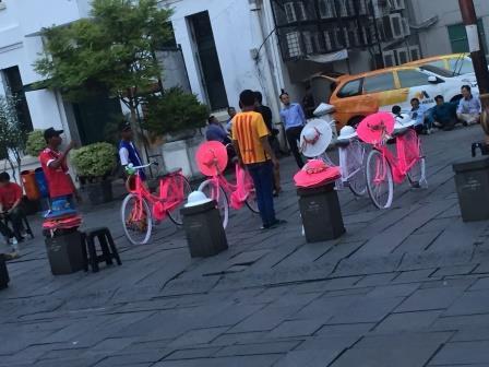 この派手な自転車はレンタルできるのですが、広場内を自由に走る<br />ためのもののようで、結構利用者がいました。