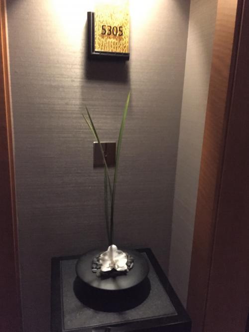 東京・六本木『ザ・リッツ・カールトン東京』53F<br /><br />5305号室のエントランスの写真。<br /><br />お部屋の前の台座の上には他のお部屋にはないグリーンの置物が飾ってあります。<br />さすがスイートルームですね。
