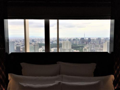 ベッドルームの窓(東側)からは東京スカイツリーの眺望を楽しむことができます。<br /><br />でも私的にはこの枠組みが無く、一面大きな窓の方が好きです。<br />上から身を乗り出して下を見てみると広めのスペースがありました。<br />ちょっともったいない造りです。<br /><br />それから何だか天井が低く感じます・・・。
