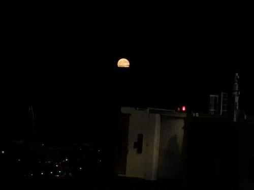 満月の成田空港。<br /><br />トルコ航空、イスタンブール行きは夜便。