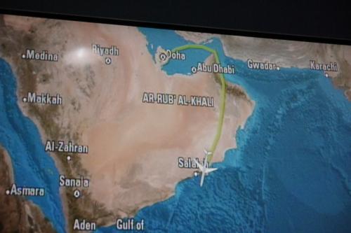 こんな感じで大回りしてエンテベに向かいます. <br />オマーンまでこれに同調したらカタール航空 本当にやばいことになりますね..(^_^;)