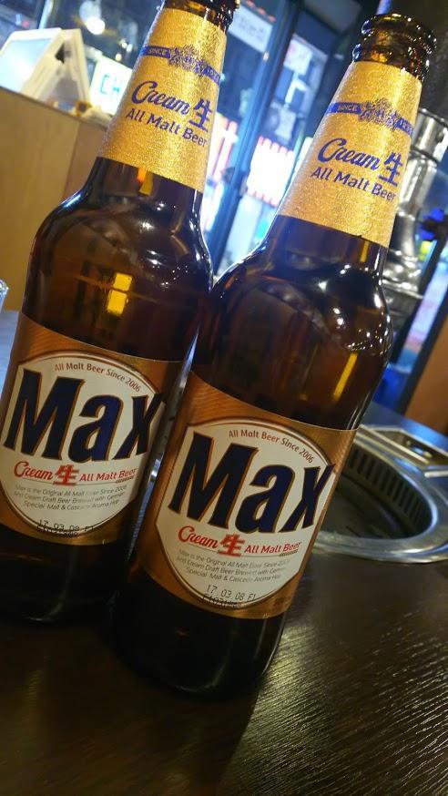 夜は韓国のビールで。