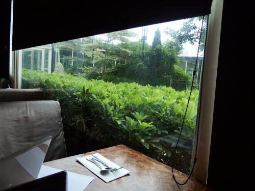 朝風呂後の朝食は、窓際の席で。<br />窓の向こうに見える建物は、健身房。その向こうにプールエリアがあります。