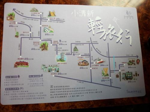 この地図は、実はランチョンマット。<br />ホテル近郊の観光地が記載されていて、優れもの。