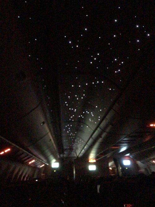 エミレーツの機内では、天井に星空が浮かび上がると噂で聞いていましたが、本当だったんですねー。<br />暗い機内でも心が落ち着きます。