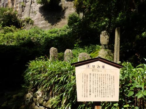 せみ塚までやってきました。<br />芭蕉の弟子たちがこの地を訪れて、この場所が芭蕉が句の着想を得た場所ではないかと、句をしたためた短冊を埋めて石の塚を立てたそう。