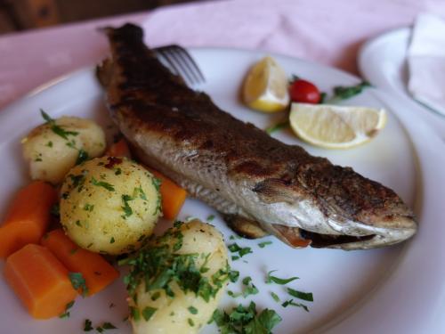 湖でとれたマスのグリル。久しぶりのお魚です。