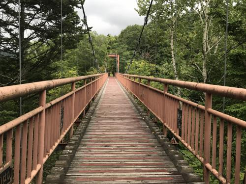 再び別のつり橋を渡って駐車場へ戻ります。