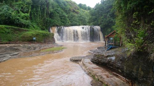 本日は風が強いのでゴンドラが動きません、その代わり少しお安くしますと。<br />大人20ドルが15ドルに 子人8ドルが6ドルになりました<br />ゴンドラに乗れず残念でしたが 仕方ないですね<br /><br />トラックに乗せられてタロフォフォの滝へ<br />昨日、今日の雨でこのような濁水