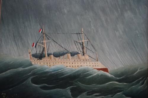アンリ・ルソー「嵐の中の船」1896年以降<br />アンリ・ルソーは、19世紀~20世紀フランスの素朴派の画家。20数年間、パリ市の税関の職員を務め、仕事の余暇に絵を描いていた「日曜画家」であったことから「ル・ドゥアニエ」(税関吏)の通称で知られます。<br />