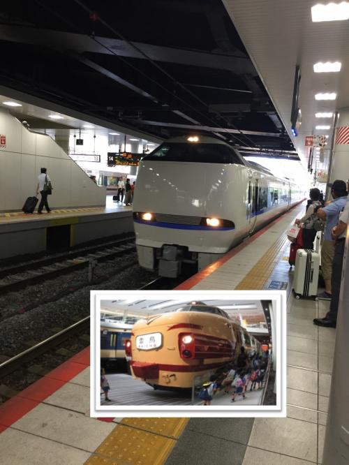 新大阪から金沢まではサンダーバード(雷鳥)。今の列車は味気ないですね。<br />昔の方が存在感あると思いませんか。<br />一層のこと緑色のサンダバード号にすればいいのに。意味分かるかな~