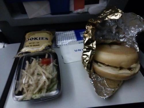 20:45発 UA178に乗り込みました。<br />小1時間ほどで機内食がでてきました。ベーグルがちょっと固かったな・・。