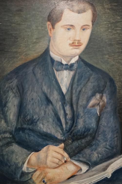 オランジュリー美術館地下の展示室に入ると最初に目にするのが、アンドレ・ドランによる「ポール・ギョームの肖像」(1919年)です。<br />オランジュリー美術館の収蔵品は、ジャン・ヴァルテル&ポール・ギヨームコレクションが中心ですが、セザンヌ、ルノワール、ルソー、マティス、ピカソ、ドラン、ユトリロ、モディリアーニなど印象派から1930年までのフランス画家とフランスで活躍した外国人画家の主要作144点からなるこのコレクションを築いたのは、画商兼美術収集家のポール・ギヨームとその妻、そして彼女の二度目の夫ジャン・ヴァルテールによります。