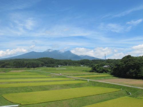 小淵沢駅を出発後すぐ、進行右手の車窓からはこれから越えていく八ヶ岳が見えます。