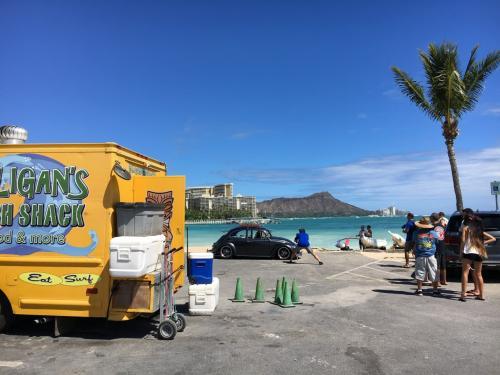 待ち合わせのヒルトンの近くのカハマノクビーチに駐車