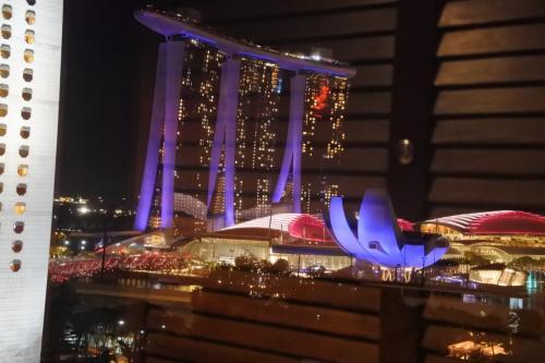 部屋の正面にシンガポールのランドマーク、マリーナベイサンズがよく見える。