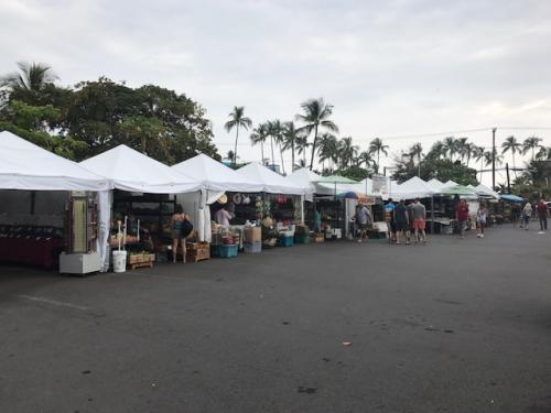ファーマーズマーケットへ夜のバーベキューのための食材探し。ココは、実食できるような物は無く果物や野菜を購入。生のライチやパイナップルはスーパー美味!