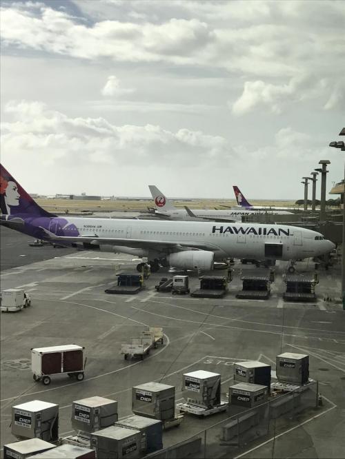 目が覚めたらホノルルに着いてたパターン<br />入国してから、ハワイアン航空に乗り継ぎ