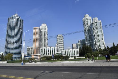 平壌市内の街並み