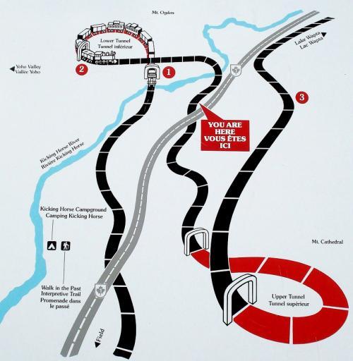 スパイラル・トンネルの地図。トンネルがループしている。