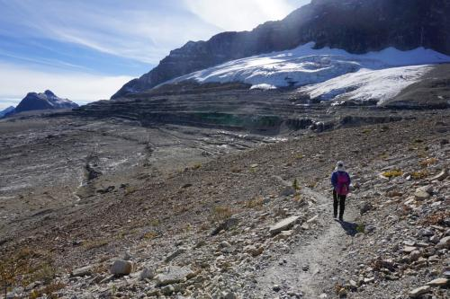 氷河と、氷河に磨かれたつるつるの岩、そしていくつかのモレーンを超えてハイクです。